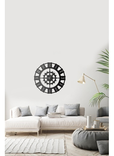 Angemiel Home Çark Metal Duvar Saati Siyah